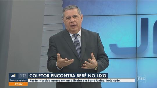 Recém-nascida é encontrada em lixeira de Porto União