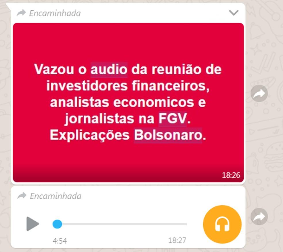 Audio e mensagens que circulam em redes sociais sobre evento que não houve na FGV — Foto: Reprodução/ Redes sociais