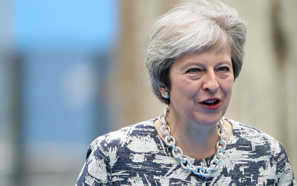 -  A primeira-ministra britânica Theresa May na chegada do segundo dia de reuniões da OTAN, em Bruxelas, na quinta-feira  12   Foto: Tatyana Zenkovich/P
