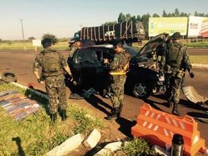 Exército apreendeu maconha durante barreira no âmbito da Operação Dourados (Foto: Martim Andrada/  TV Morena)