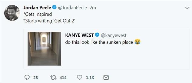 A brincadeira do cineasta Jordan Peele com Kanye West sobre a continuação de Corra (2017) (Foto: Twitter)