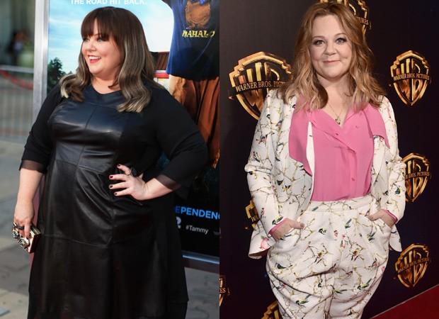Antes e depois de Melissa McCarthy após perder 35kg (Foto: Getty Images)