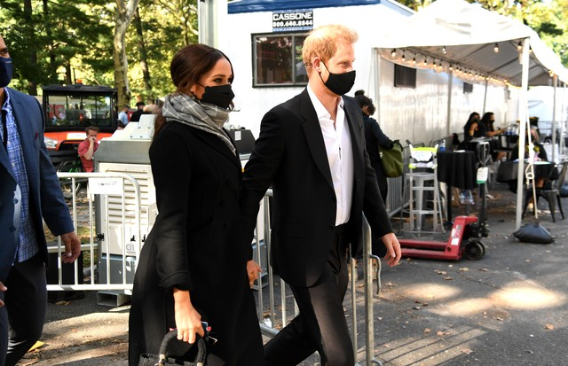 NEW YORK, NEW YORK - SEPTEMBER 25: Meghan, Duchess of Sussex (L) and Prince Harry, Duke of Sussex attend Global Citizen Live, New York on September 25, 2021 in New York City. (Photo by Kevin Mazur/Getty Images for Global Citizen ) (Foto: Getty Images for Global Citizen)