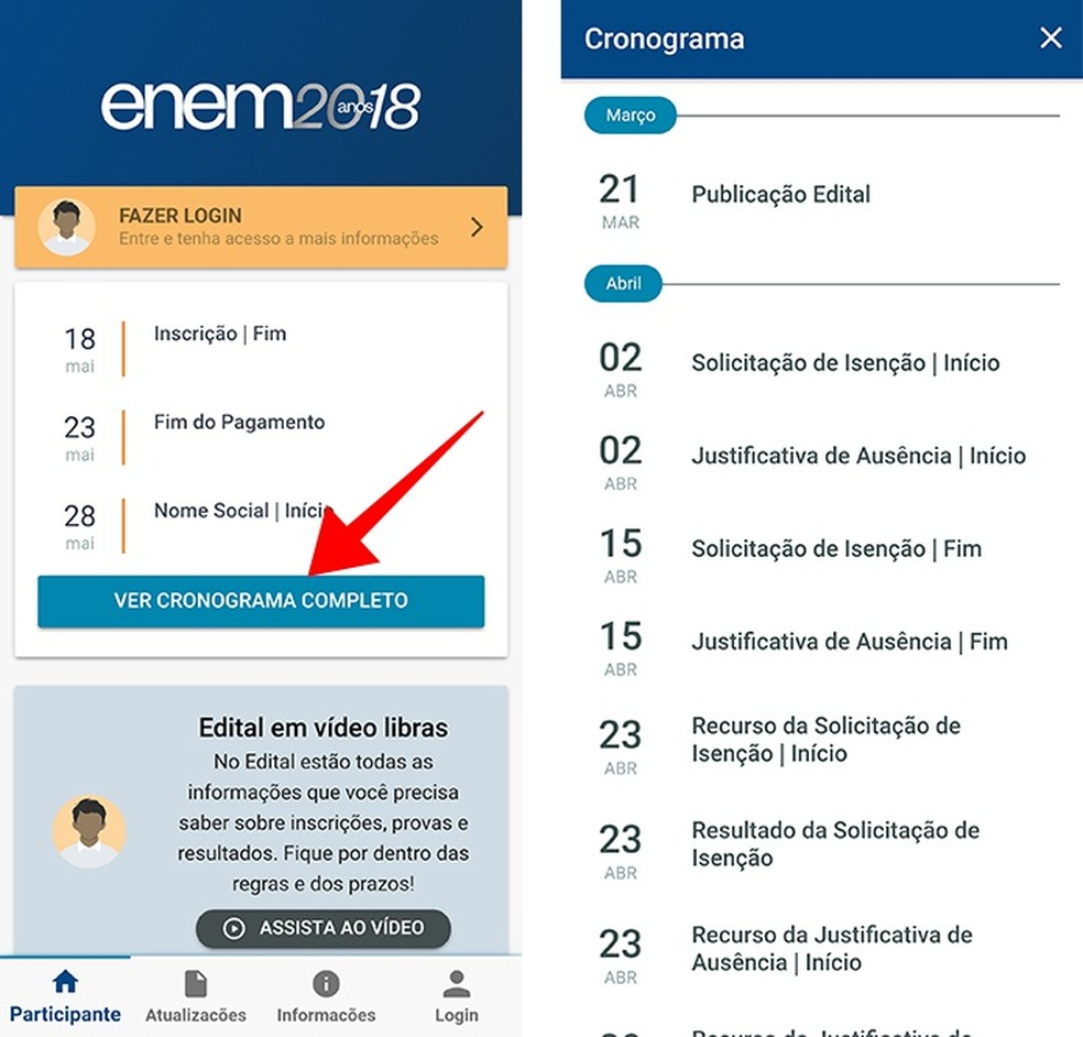 Acesse o cronograma do ENEM e outras informações sem login (Foto: Reprodução/Paulo Alves)