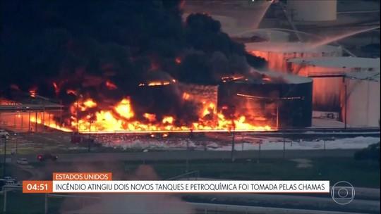 Incêndio atinge dois novos tanques e petroquímica é tomada pelas chamas nos EUA