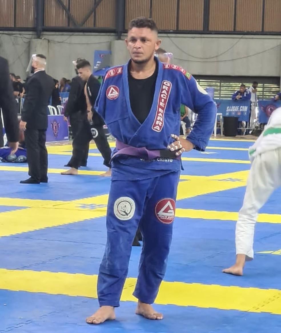 Wollace Aguiar durante disputa de parajiu-jítsu no Rio Challenge — Foto: Arquivo Pessoal