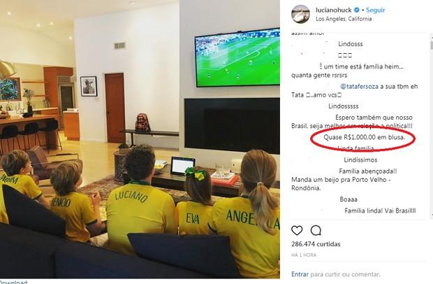 O comentário no post de Luciano Huck (Foto: Reprodução Instagram)