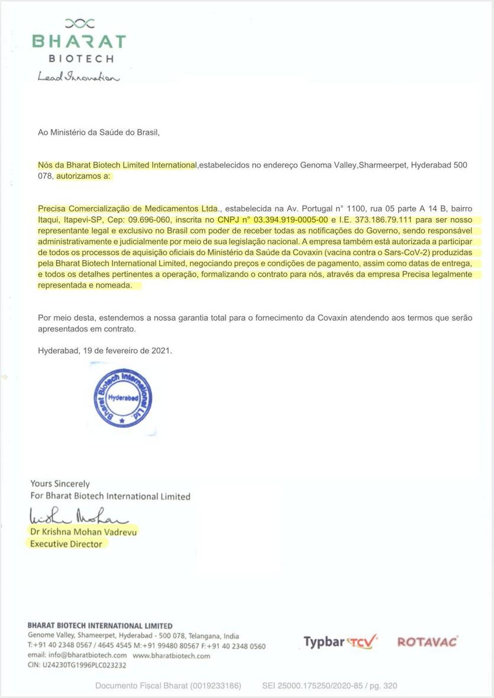 Segundo documento apresentado pela Precisa que a Bharat Biotech diz não reconhecer — Foto: Reprodução