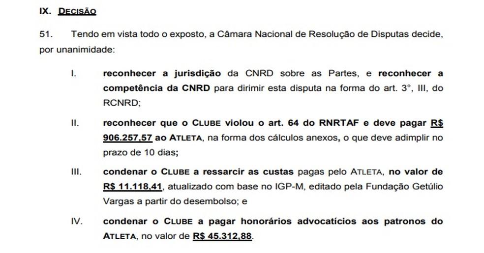 Trecho da decisão da sentença da CNRD que condenou o Vasco a pagar Anderson Martins — Foto: Reprodução