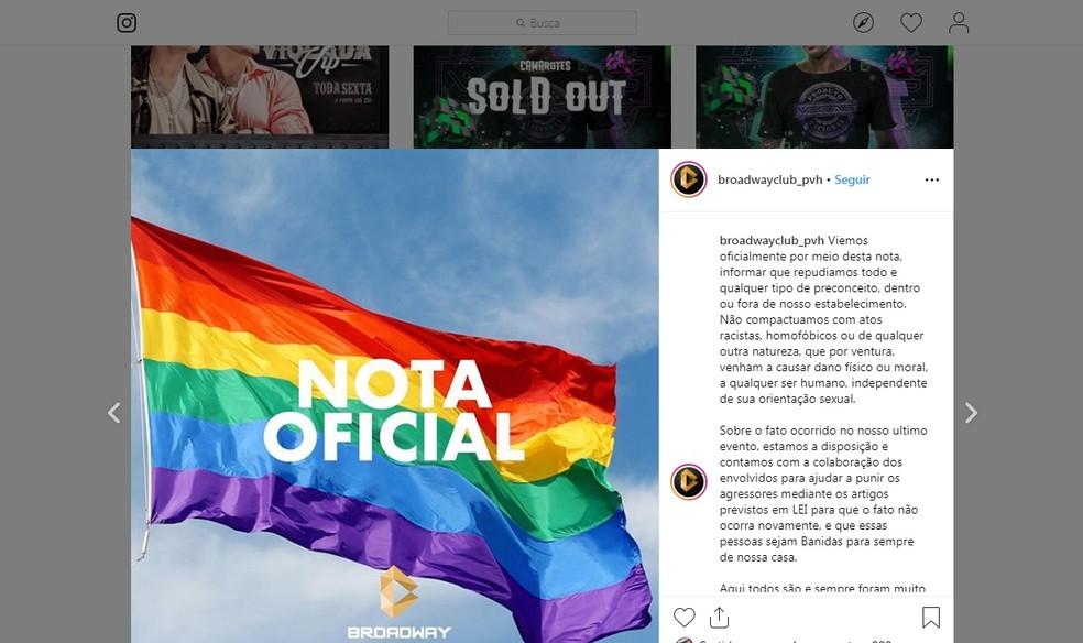 Broadway divulgou nota de repúdio contra homofobia na casa noturna — Foto: Reprodução/Instagram