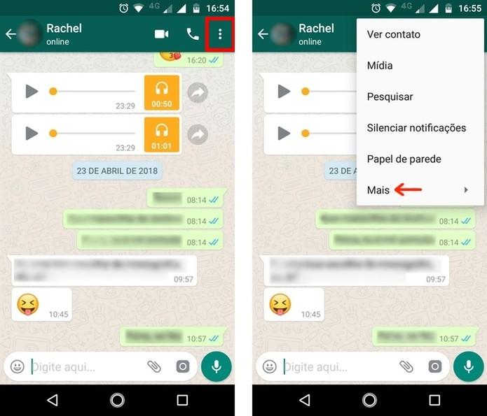 Caminho para mais opções de ferramentas em conversa do WhatsApp (Foto: Reprodução/Raquel Freire)