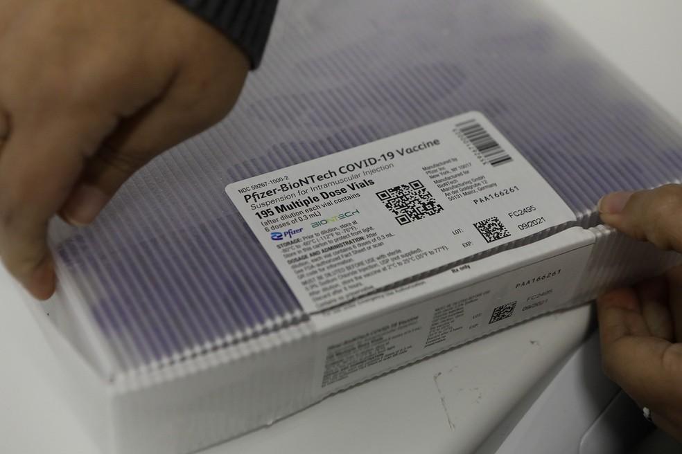 Remessa com 99.450 doses da vacina da Pfizer foi recebida por Pernambuco — Foto: Hélia Scheppa/Governo de Pernambuco