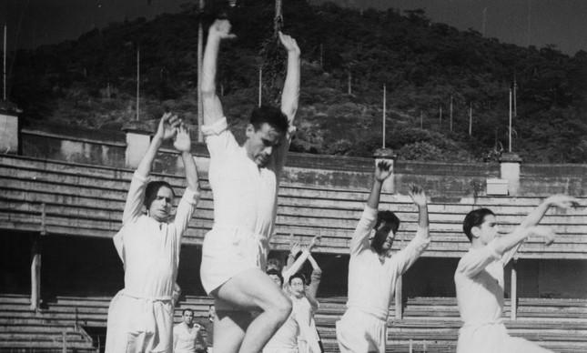 Seleção da Espanha, adversária do Brasil na Copa e 1950, treinou nas Laranjeiras para a estreia, contra os EUA