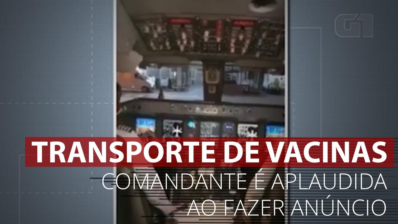 VÍDEO: Comandante de avião é aplaudida por passageiros ao anunciar transporte de vacinas