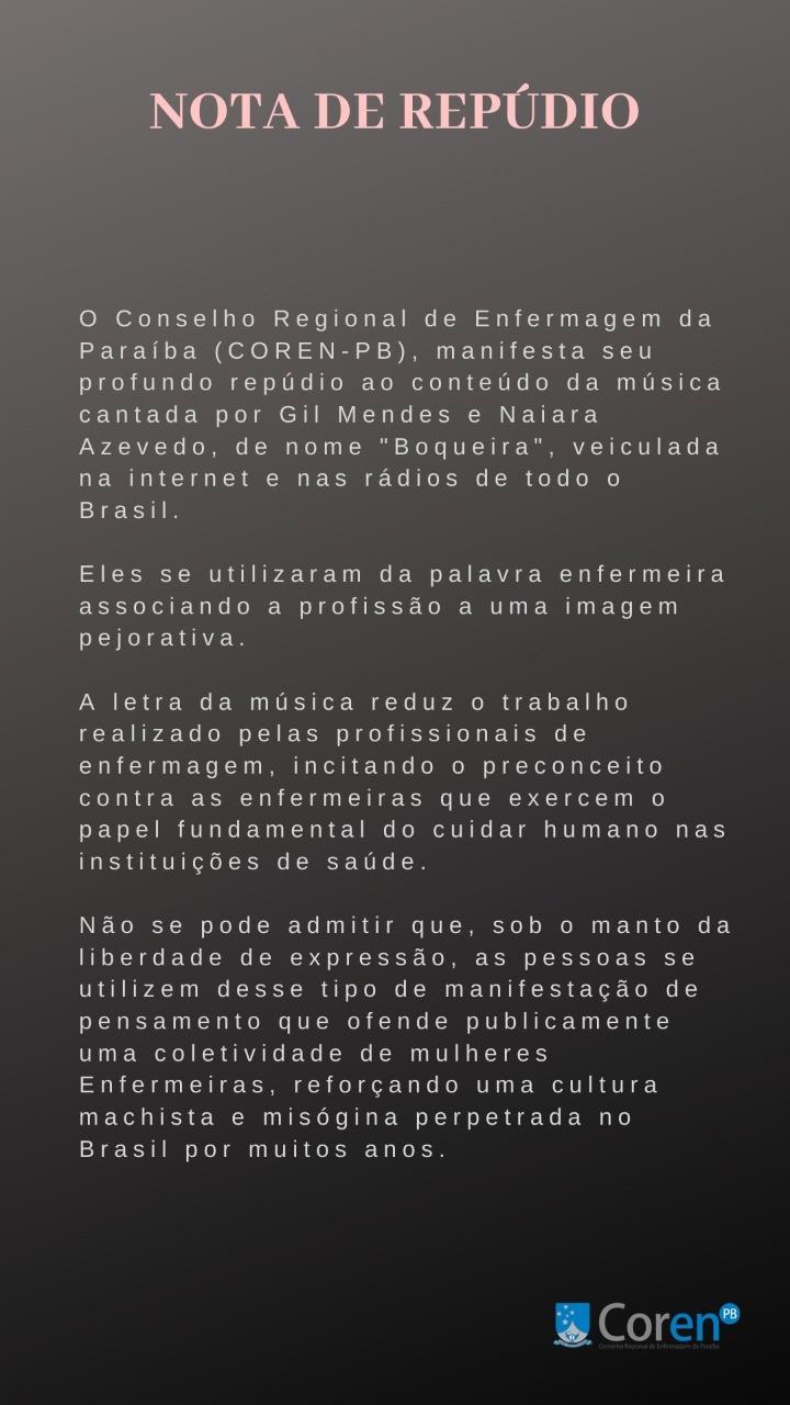 Conselho de Enfermagem da PB emite nota contra música de Gil Mendes com Naiara Azevedo - Notícias - Plantão Diário