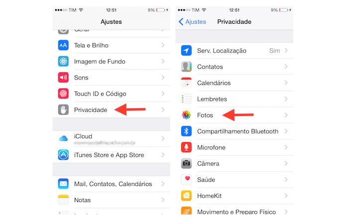 Acessando as configurações de privacidade para fotos do iPhone (Foto: Reprodução/Marvin Costa)
