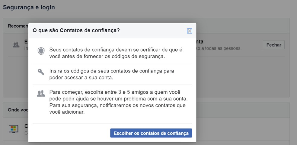 Facebook tem opção para definir 'amigos de confiança' que podem declarar que sua conta foi invadida para que a rede social devolva o acesso a você. — Foto: Reprodução