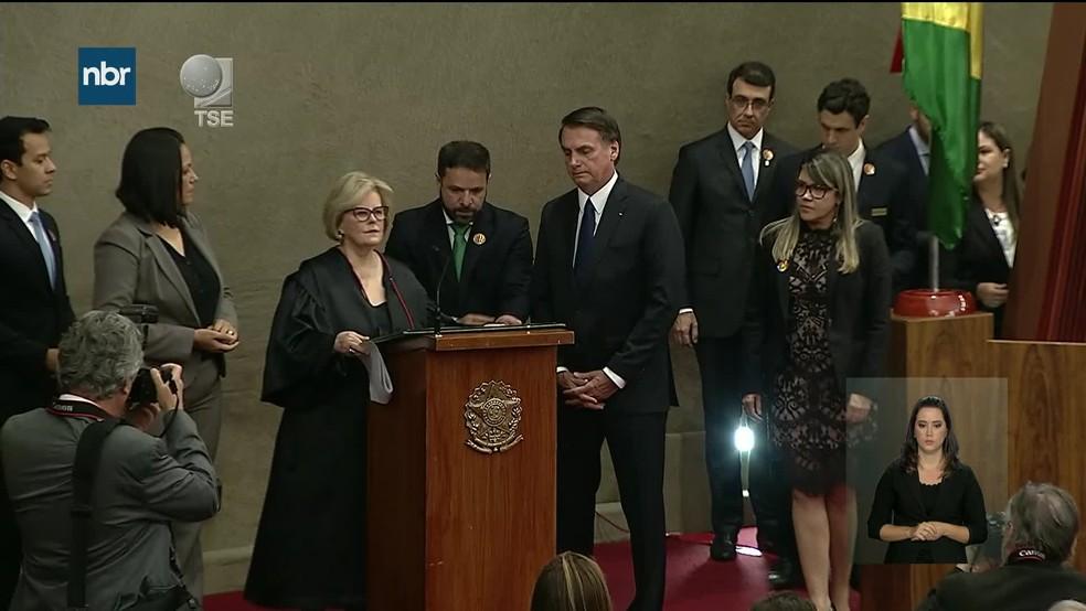 O presidente eleito Jair Bolsonaro, durante cerimônia no TSE — Foto: Reprodução/NBR