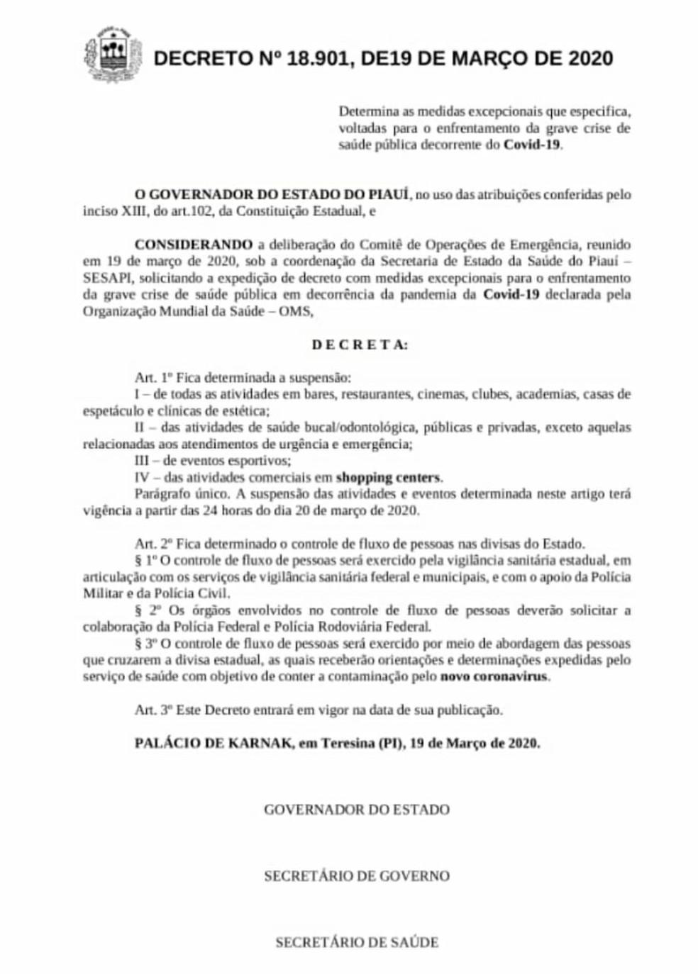 Decreto Governo do Piauí — Foto: Reprodução/Governo do Piauí