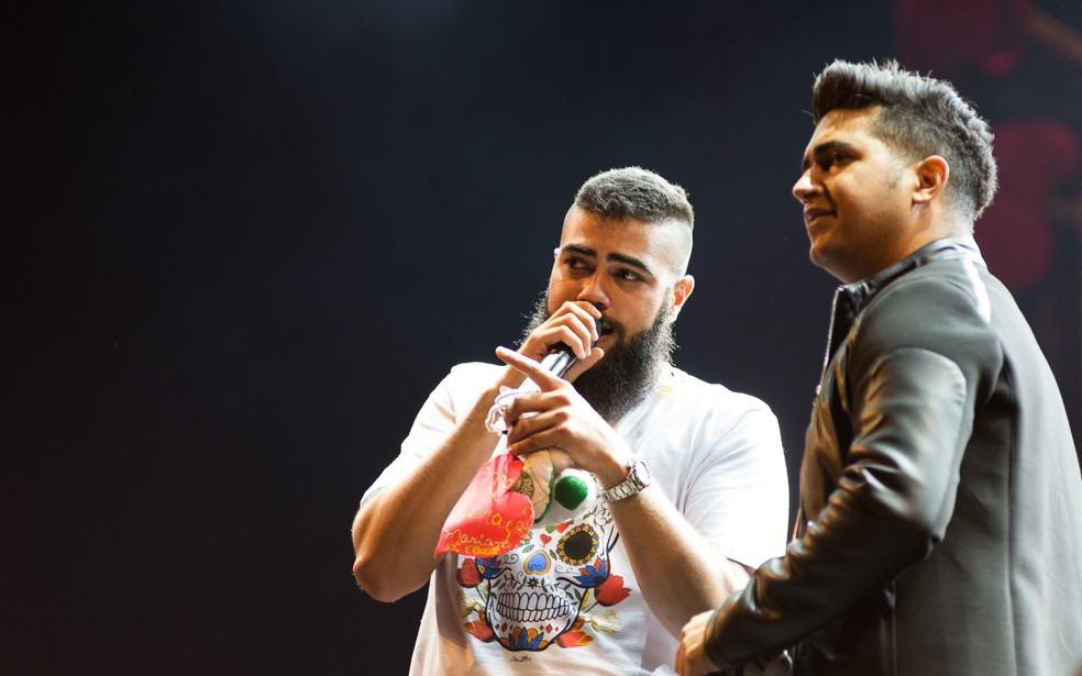 Henrique e Juliano no Ribeirão Rodeo Music 2018 (Foto: Érico Andrade/G1)