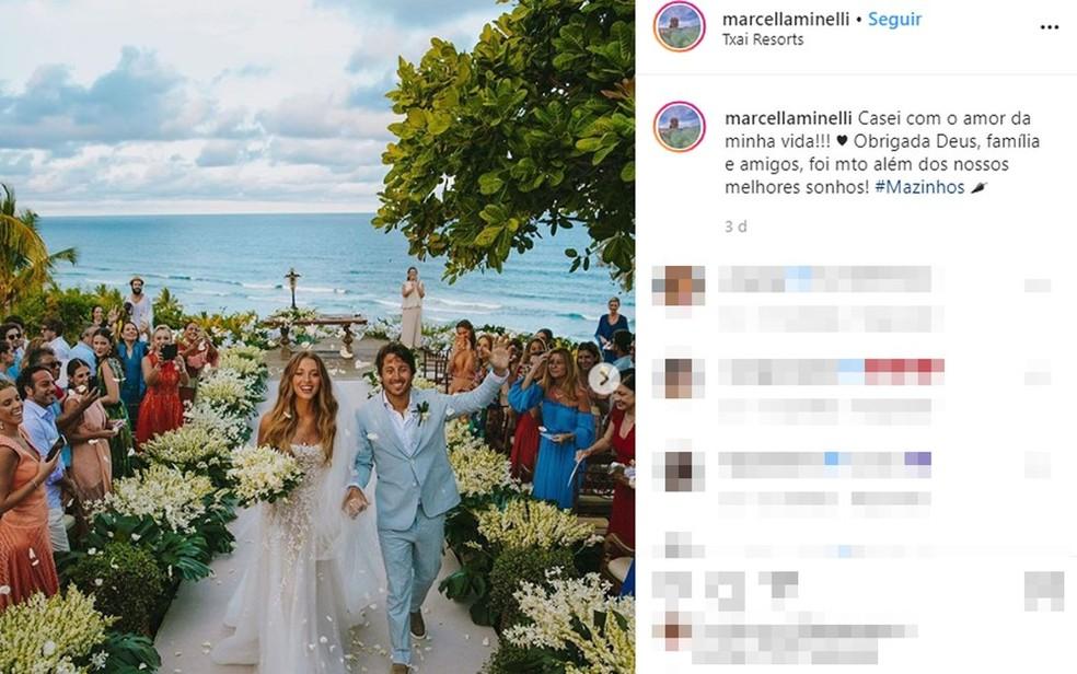 Casamento de Marcela Minelli e Marcelo Bezerra ocorreu em resort de Itacaré, no sul da Bahia — Foto: Reprodução/Redes Sociais