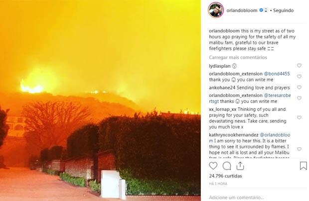 Orlando Bloom posta foto da rua em que morava na Califórnia (Foto: Reprodução/Instagram)