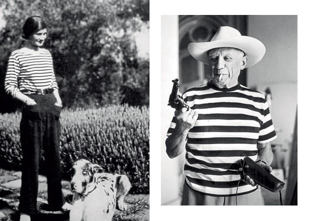 Coco Chanel e Pablo Picasso estão entre os pioneiros em adotar o guarda-roupa marine (Foto: Reprodução e divulgação)