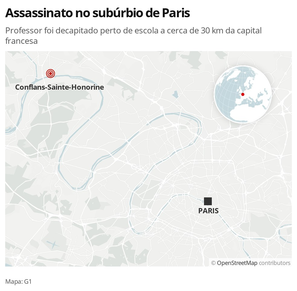 Local do assassinato de um professor perto de Paris, na França — mapa — Foto: G1 Mundo