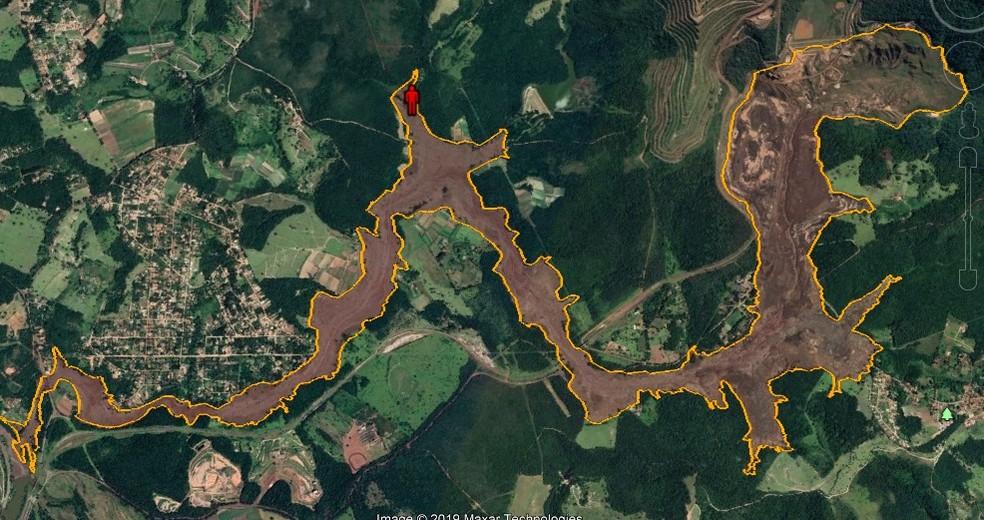 Mapa mostra local onde corpo de homem foi encontrado por bombeiros, neste sábado (19), em Brumadinho — Foto: Corpo de Bombeiros/Divulgação