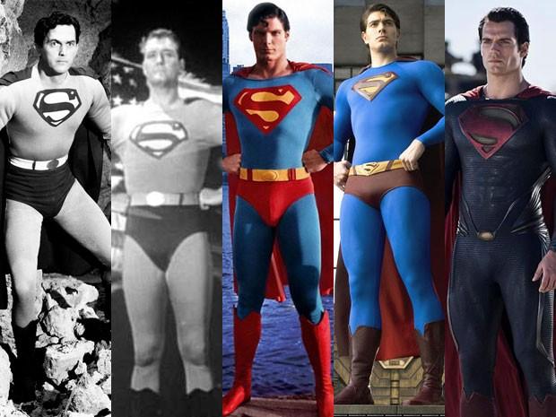 Kirk Alyn em 'Superman', George Reeves em 'Superman and the mole man', Christopher Reeve em 'Superman, Brandon Routh em 'Superman - o retorno' e Henry Cavill em 'O homem de aço' (Foto: Divulgação)