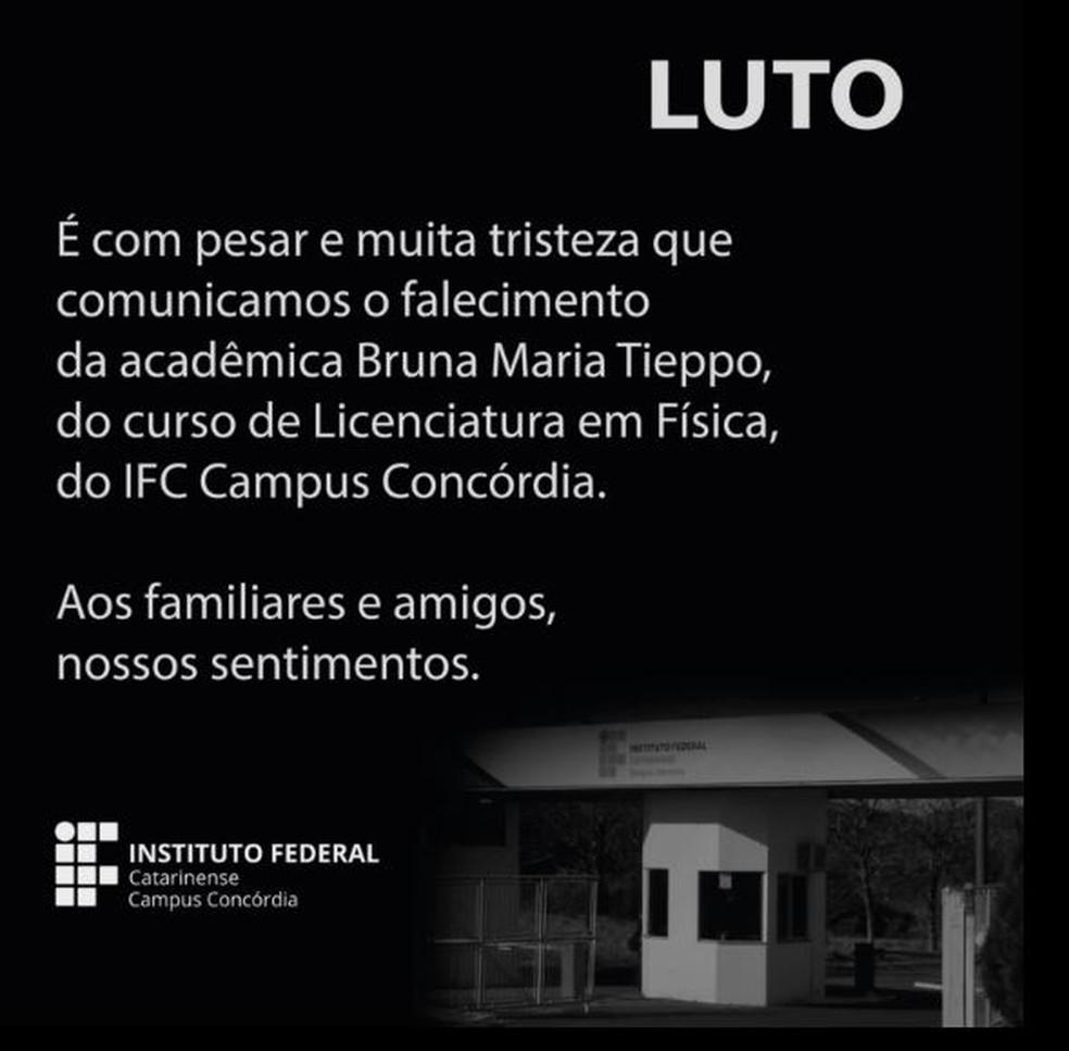 O IFC Campus Concórdia também se manifestou sobre a morte — Foto: Reprodução/ Redes sociais