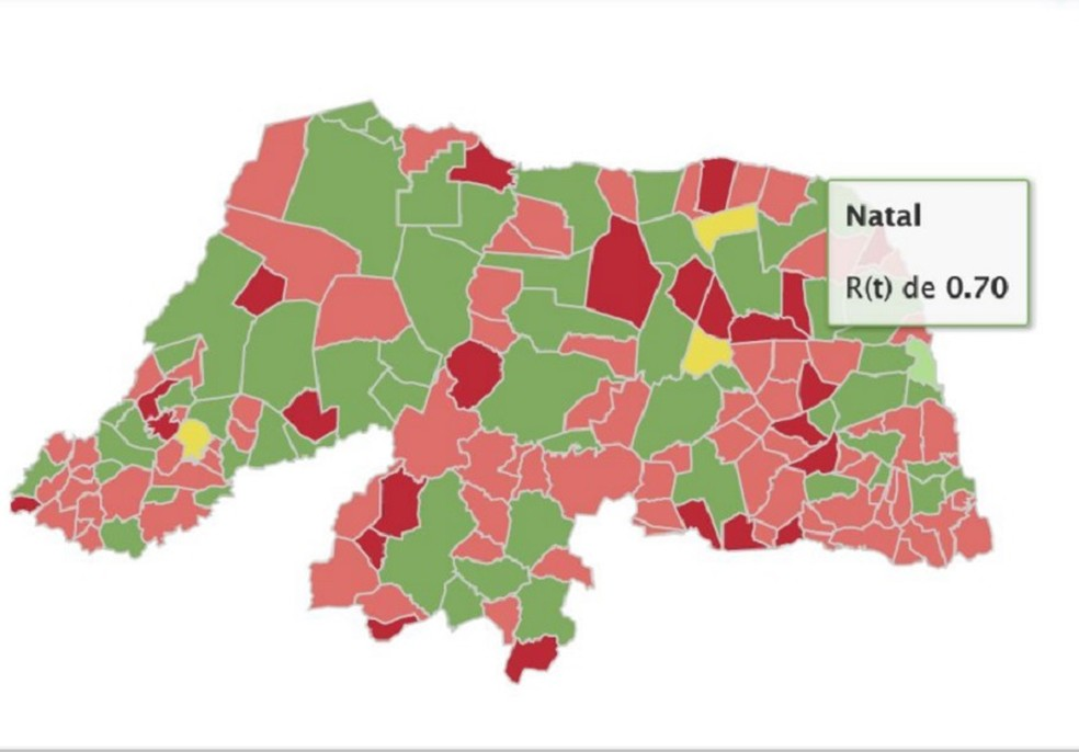Mapa mostra municípios com maior e menor índice de transmissibilidade no RN — Foto: Lais/UFRN