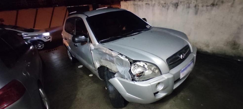 Carro Tucson, usada por homem que foi preso em flagrante em Itajaí — Foto: Polícia Militar/Divulgação