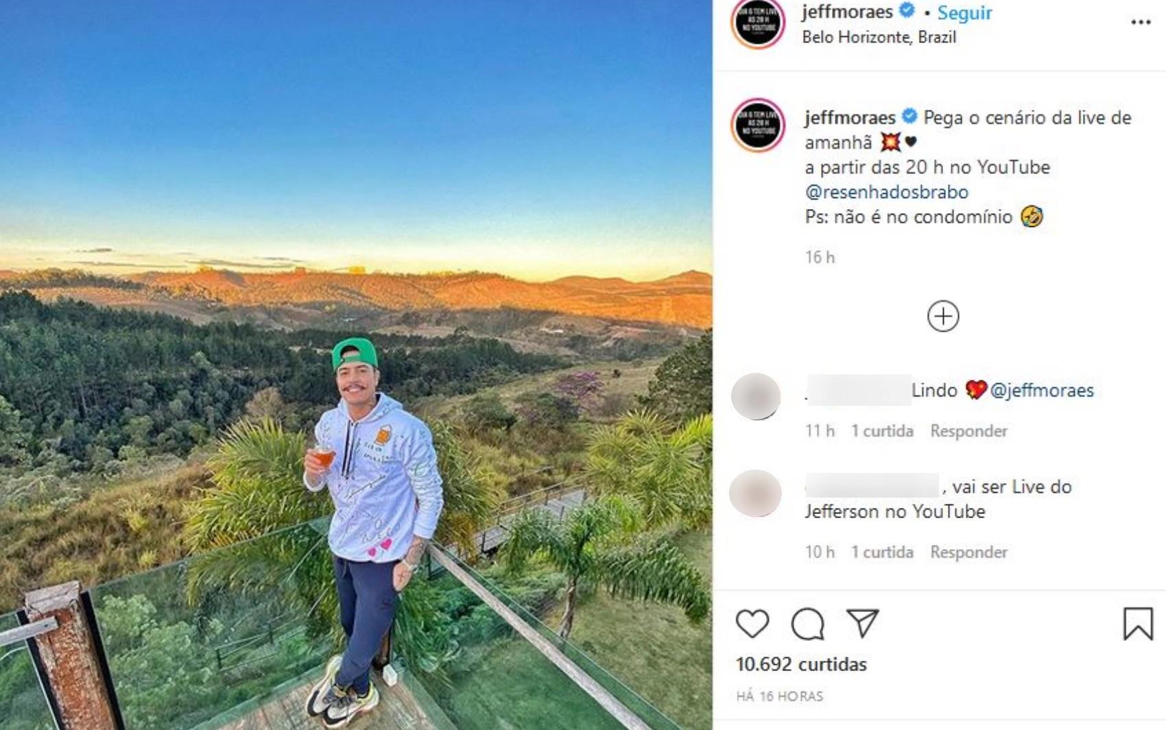 Cantor Jefferson Moraes faz post sobre nova live após polêmica com vizinhos e ironiza: 'Não é no condomínio'