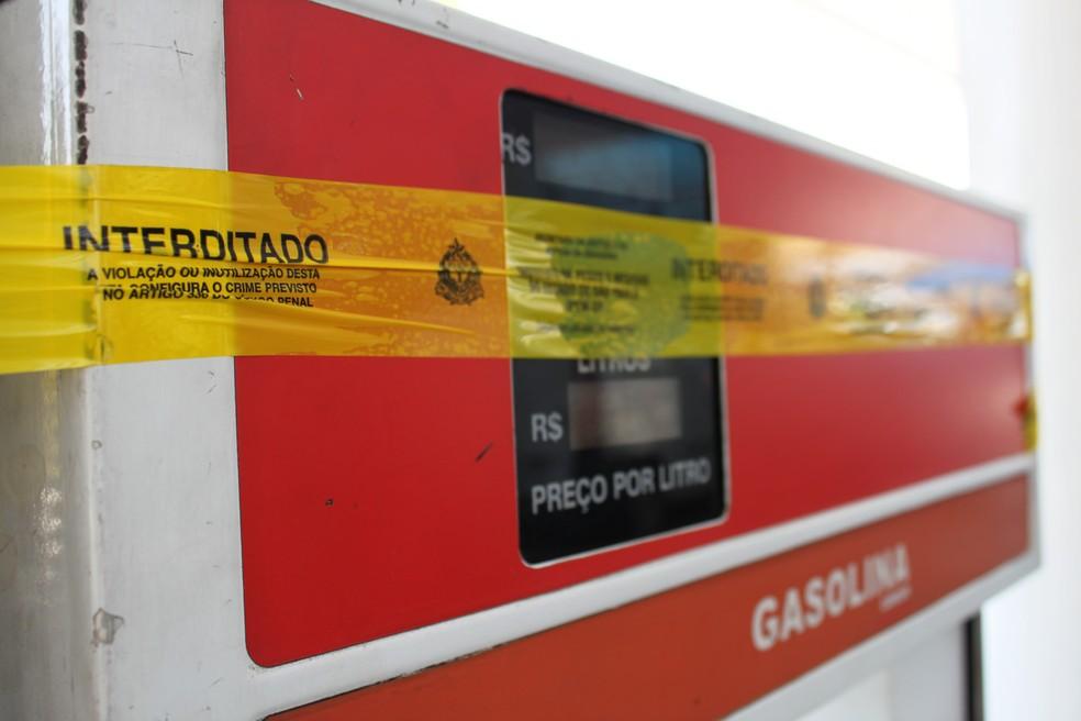 Posto teve bombas interditadas por suposta adulteração em Santos, SP — Foto: Ipem-SP/Divulgação