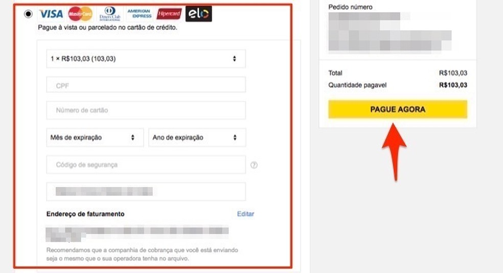 Ação para digitar dados do cartão de crédito e finalizar uma compra no site Gearbest â?? Foto: Reprodução/Marvin Costa