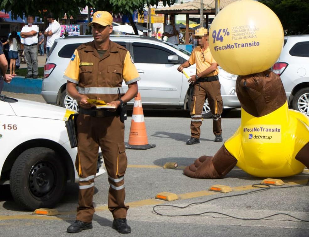 Robson Pereira, ao centro, participava de campanha para segurança no trânsito (Foto: Divulgação)