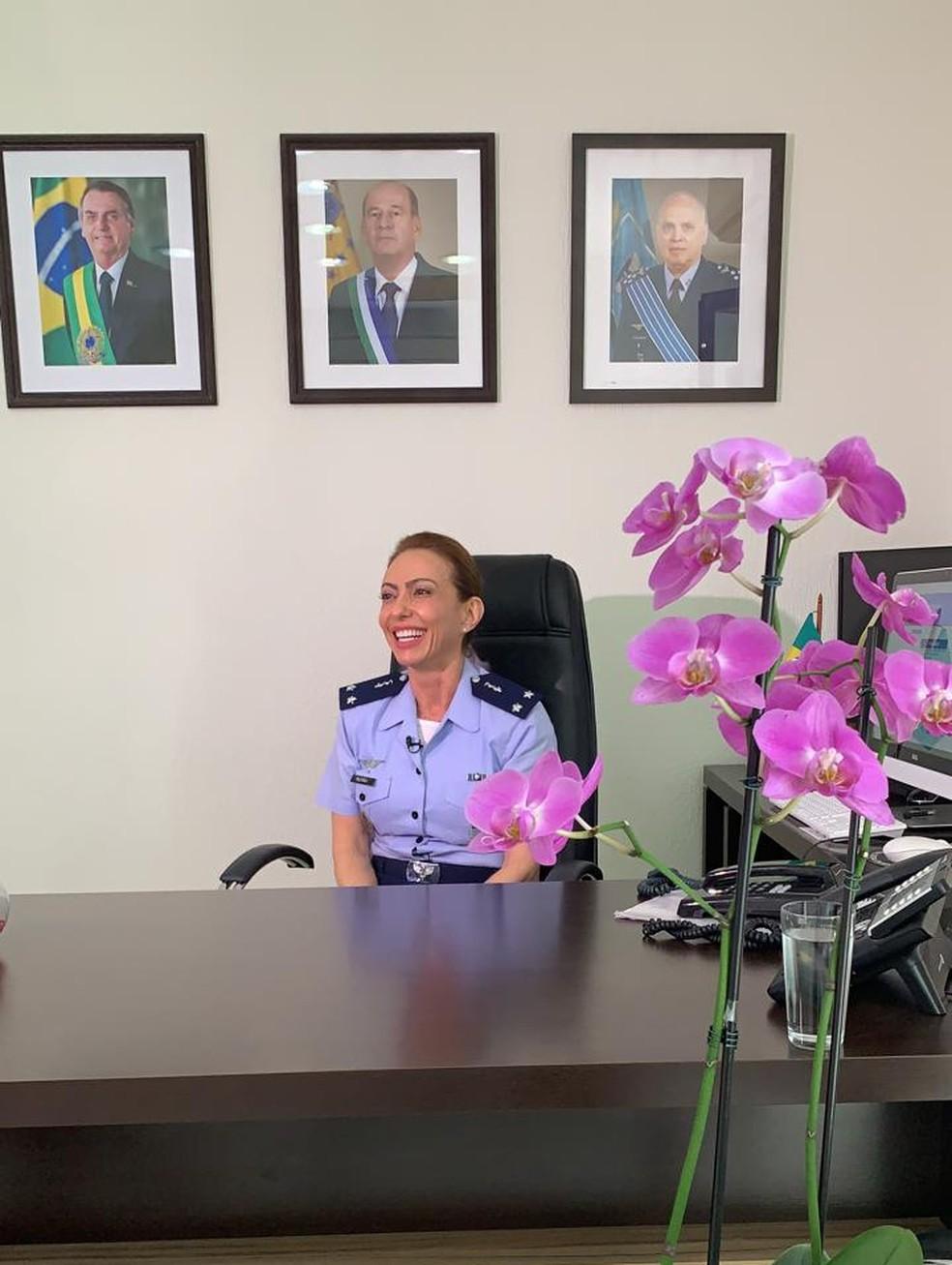 Brigadeiro Médica Carla Lyrio Martins é a primeira mulher promovida ao posto de oficial-general da FAB — Foto: FAB/Divulgação