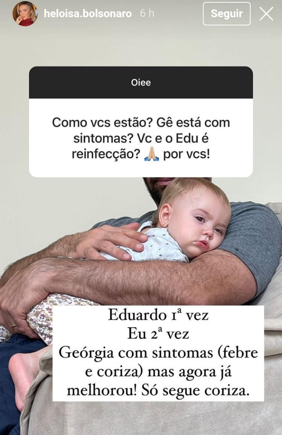 Heloísa Bolsonaro conta que ela e a filha também se infectaram com Covid — Foto: Reprodução