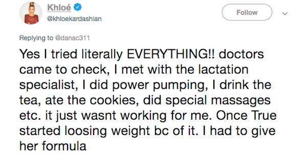 Um dos tuítes nos quais a socialite Khloé Kardashian fala sobre seus dramas com amamentação (Foto: Twitter)