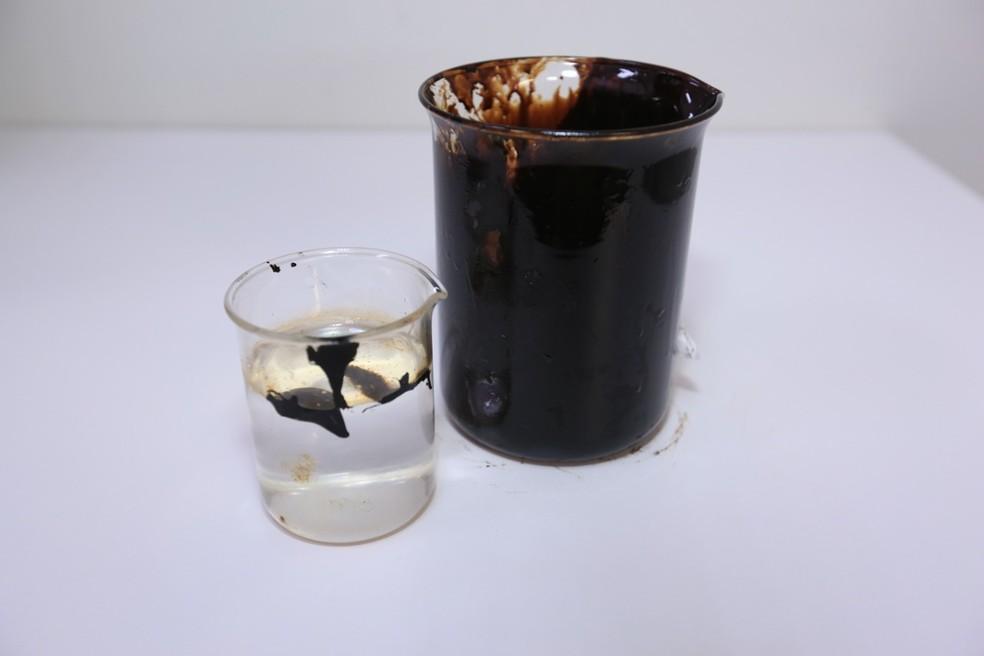 Amostra de petróleo cru analisada em laboratório universitário — Foto: Divulgação/Centro Universitário FEI
