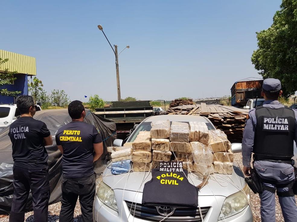 A apreensão ocorreu após investigação e operação integrada entre policiais civis, militares, federais e de fronteira em Água Boa — Foto: Polícia Civil de Água Boa (MT)