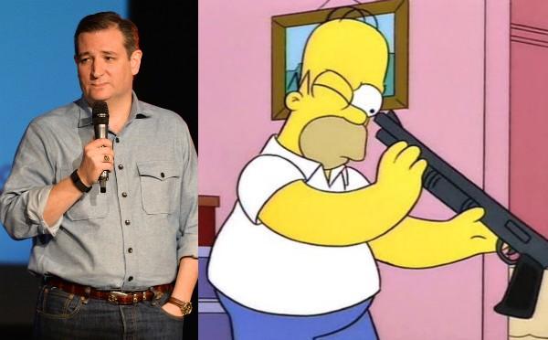 O senador do Texas, Ted Cruz, e o personagem Homer Simpson (Foto: Getty Images/Reprodução)