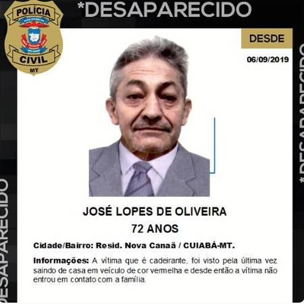 José Lopes de Oliveira, de 72 anos, está desaparecido — Foto: Divulgação