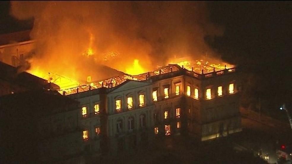 Incêndio no Museu Nacional (Foto: GloboNews)