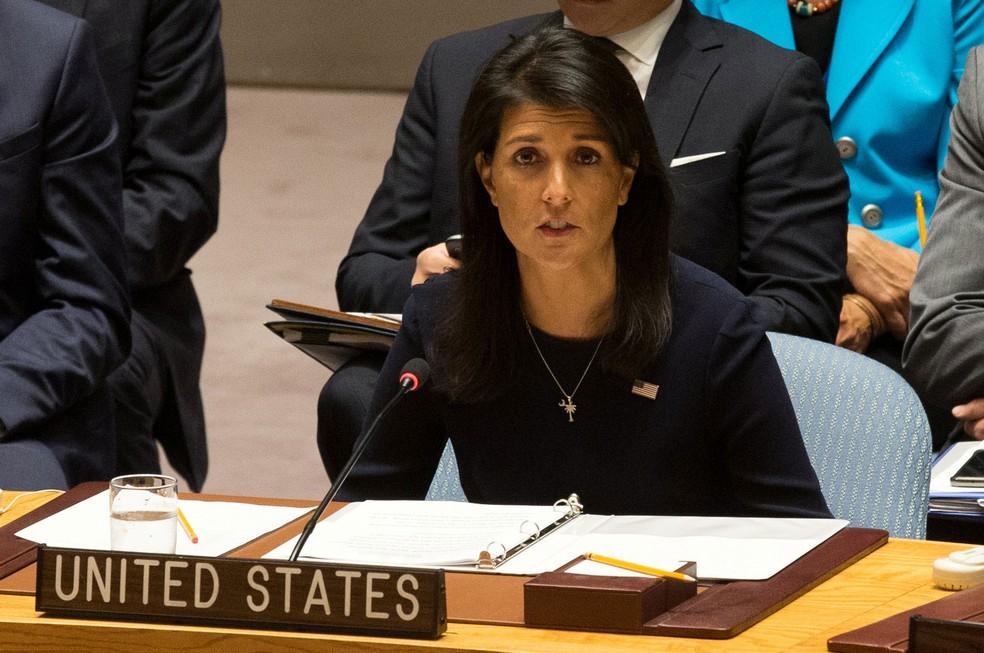 Embaixadora dos EUA na Organização das Nações Unidas, Nikki Haley, pediu nesta segunda-feira (4) medidas mais fortes possíveis contra a Coreia do Norte  (Foto: Joe Penney/ Reuters)