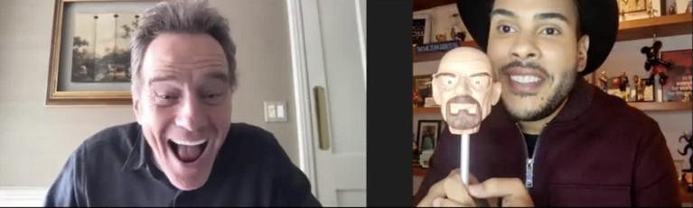 Hugo Gloss entrevista Bryan Cranston (Foto: Arquivo pessoal)
