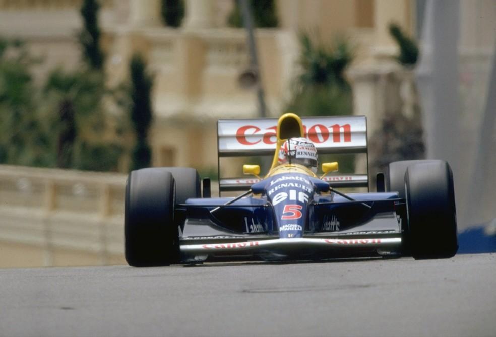 Nigel Mansell pilota Williams FW14B em Monte Carlo, em 1992 — Foto: Getty Images