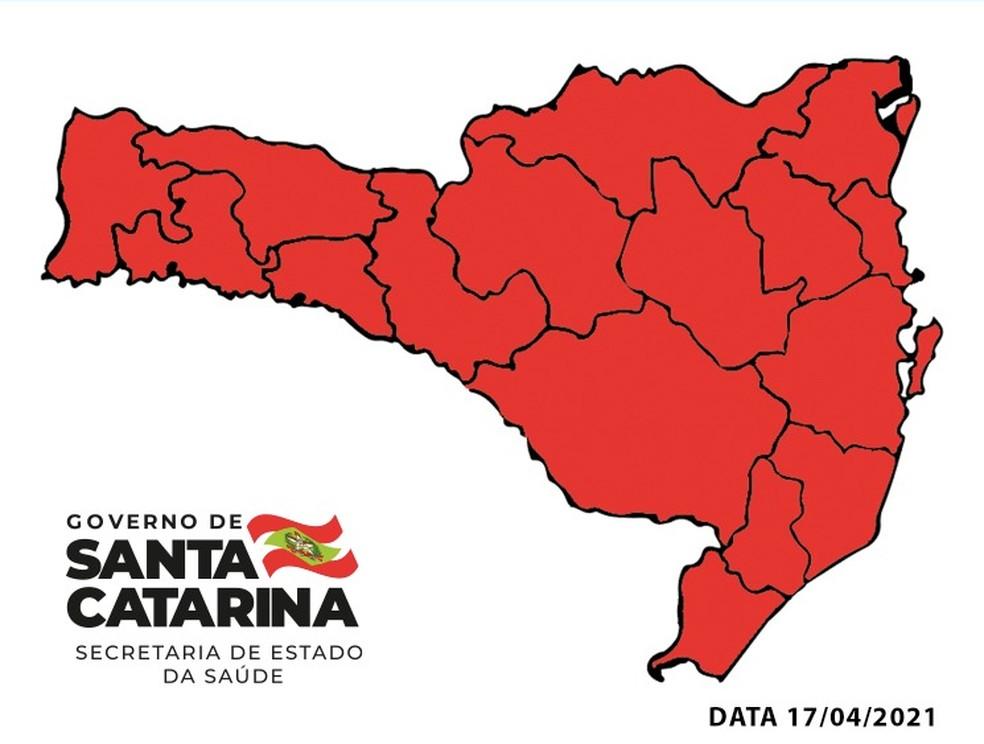 Matriz de Risco em 17 de abril de 2021 — Foto: Secretaria de Estado da Saúde/Divulgação