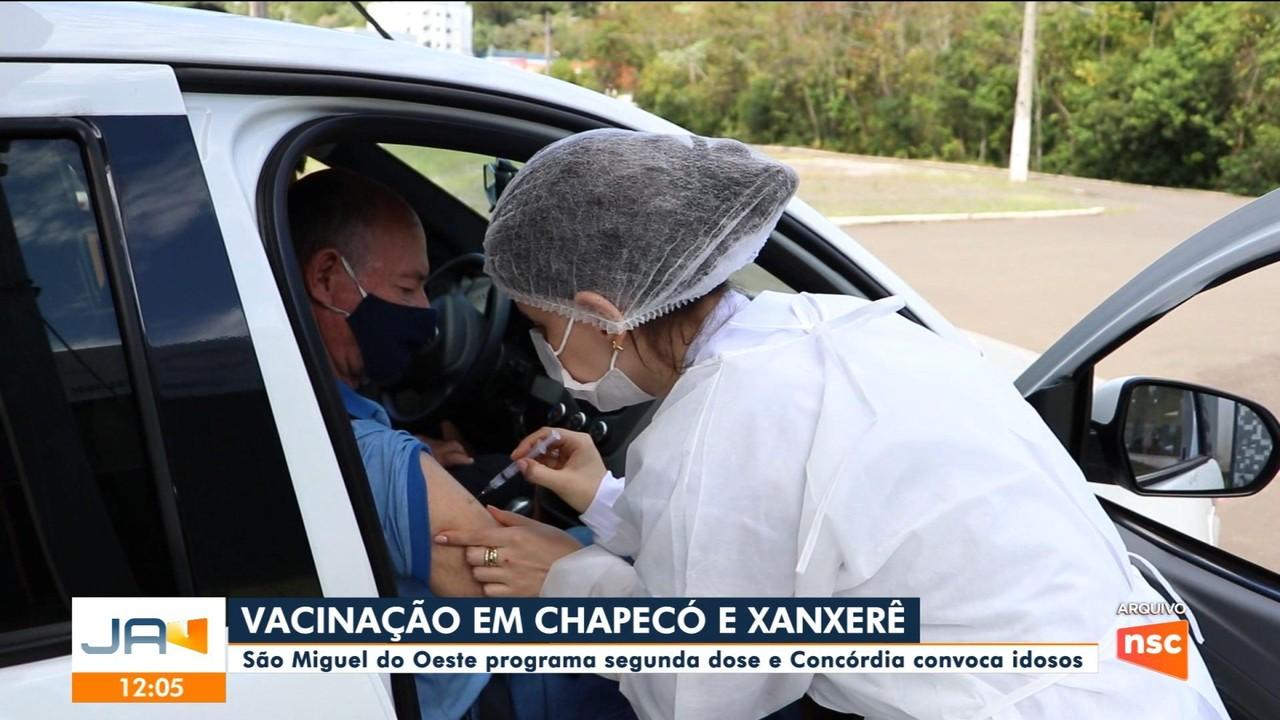 São Miguel do Oeste programa segunda dose e Concórdia convoca idosos para imunização